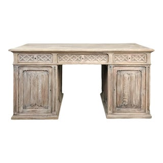 Antique Rustic Whitewashed Pine Gothic Partners Desk For Sale
