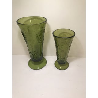 1960s Vintage Indiana Glass Green Grape Trumpet Vases - A Pair Preview