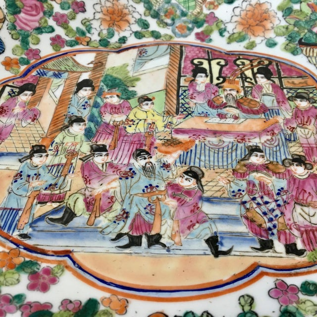 1980s Large Vintage Rose Medallion Bowl For Sale - Image 5 of 10