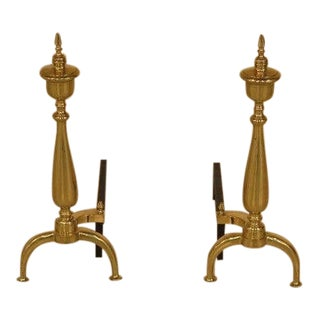 Federal Style Brass Fireplace Andirons - a Pair For Sale