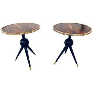Pair of Mid-Century Modern Style Ebony Bronze Base and Rosewood End Tables For Sale