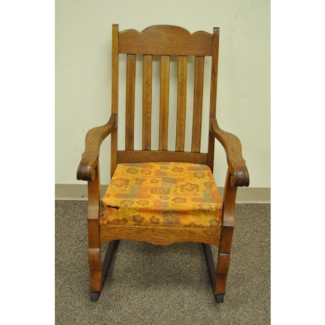 Arts & Crafts Antique Mission Arts & Crafts Carved Solid Oak Rocking Lounge Chair Rocker Vintage For Sale - Image 3 of 11