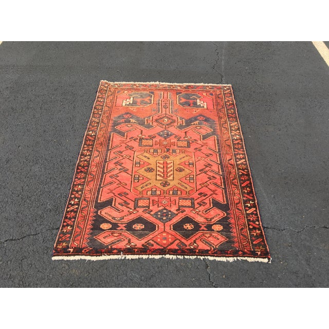 "Vintage Persian Zanjan Area Rug - 3'4""x4'6"" - Image 2 of 8"