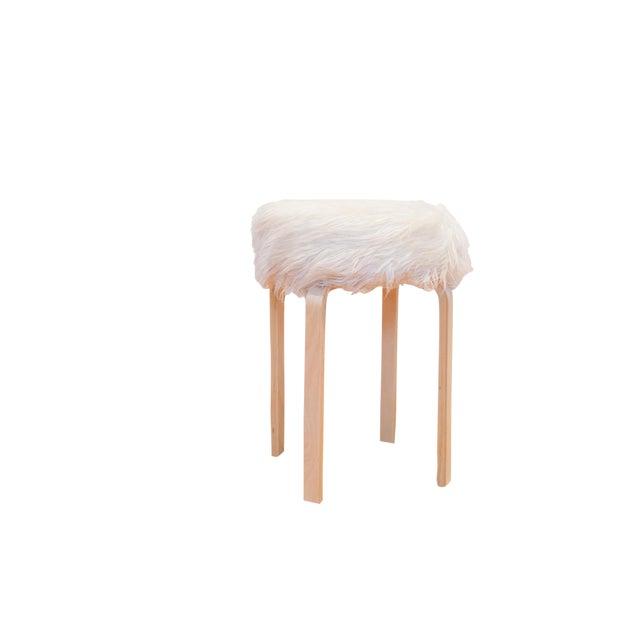 Faux Fur Alvar Aalto Stye Stool For Sale