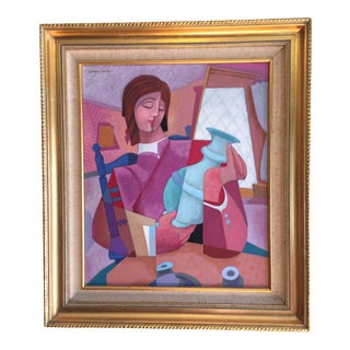 "1970's Contemporary Oil Painting ""The Potter"" by Enrique Sanchez For Sale"