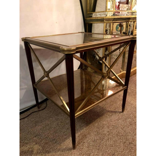 Bronze Hollywood Regency Bronze Decorated End Table X-Base Sides Tortoise Glass Top For Sale - Image 8 of 11