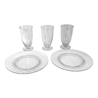 Vintage 1940's Duncan & Miller Crystal Glasses & Plates Set - 5 Pieces For Sale