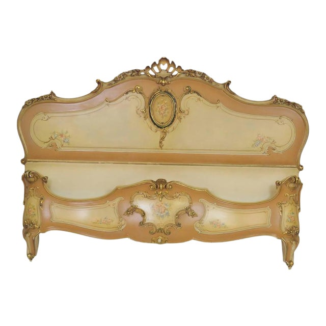 Venetian Style Paint Decorated Headboard For Sale