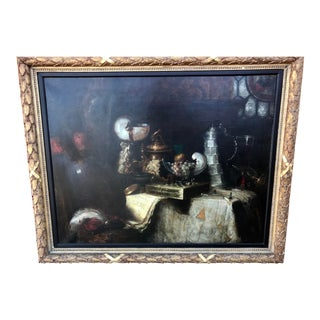 19th C. Still Life Oil Painting on Canvas by Adolf Pichler For Sale