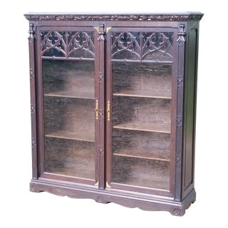 20th Century Gothic Oak Bookcase For Sale