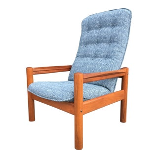 Mid Century Danish Modern Teak High Back Lounge Chair by Domino Mobler For Sale