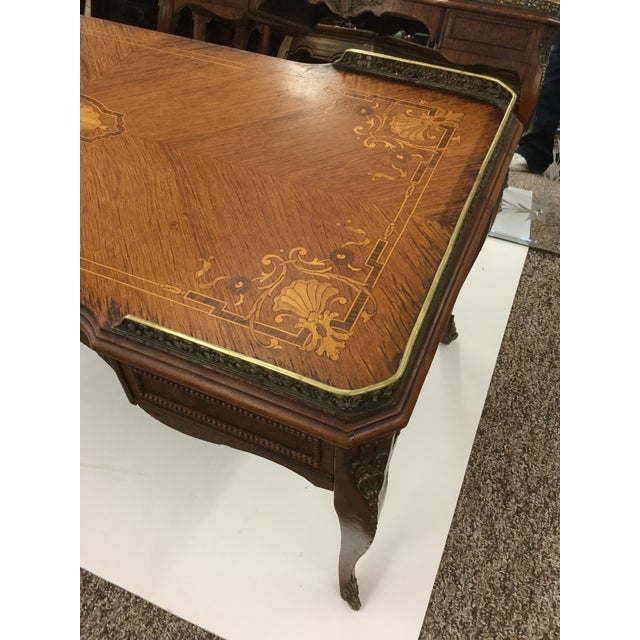 Antique Inlaid Glass Top French Coffee Table For Sale In Boston - Image 6 of 13
