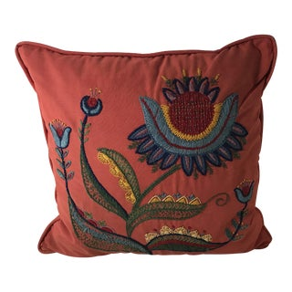 Vintage Embroidered Floral Motif Rust Colored Pillow