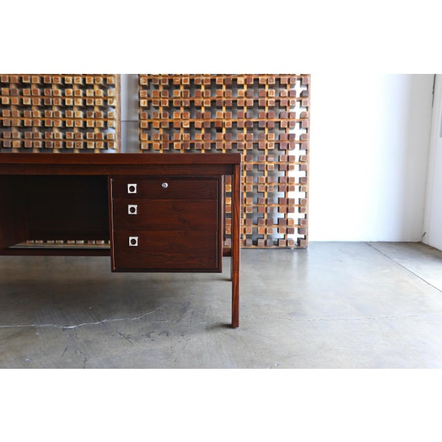 Arne Vodder Rosewood Executive Desk for H.P. Hansen of Denmark. This piece retains H.P. Hansen's stamp to the bottom. This...