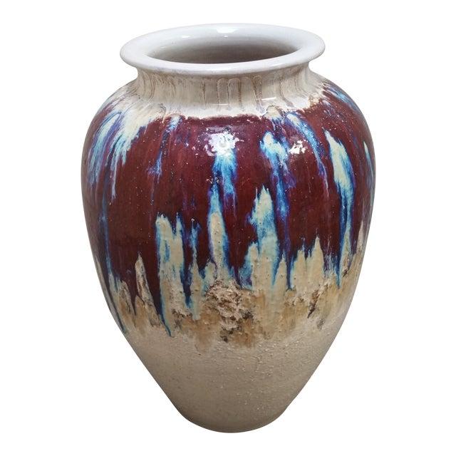 1950s Vintage Drip Glaze Floor Vase For Sale