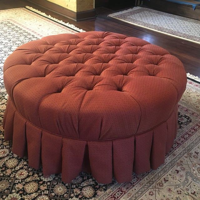 "Ethan Allen 37"" Round Red Tufted Cocktail Ottoman For Sale - Image 11 of 13"