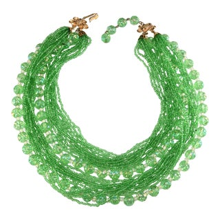 Schiaparelli Green Beads Necklace Vintage 1960s For Sale