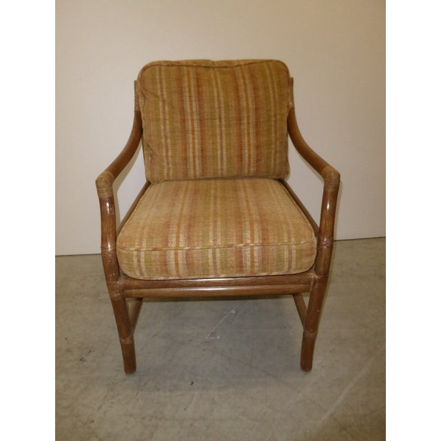 McGuire Vintage Mid Century Modern McGuire Tan Stripped Bamboo Rattan Accent Chair For Sale - Image 4 of 12