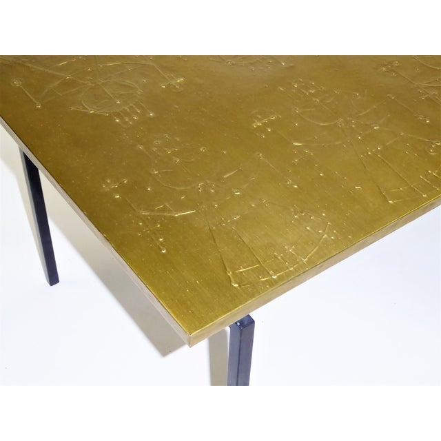 Brass MidCentury Modern Raymor Scandinavian Repousse Brass Coffee Table 1960s For Sale - Image 7 of 13