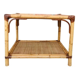 20th Spanish Rectangular Bamboo Coffee Table With Glass Top For Sale
