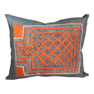 Indigo Hmong Textile Pillow For Sale
