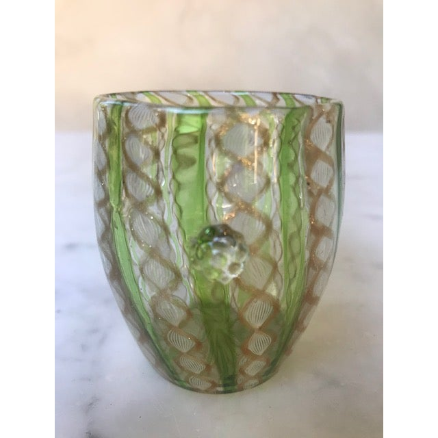 Victorian era Venetian art glass green swirl with gold aventurine vase or toothpick holder. Amazing piece with applied...