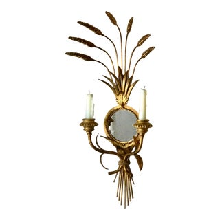 Wall Mirror Sconce Candle Holder Hollywood Regency Wheat Wall Decor For Sale