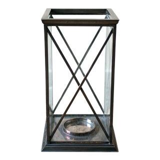 Late 20th Century Silverplate Hurricane Candle Holder For Sale