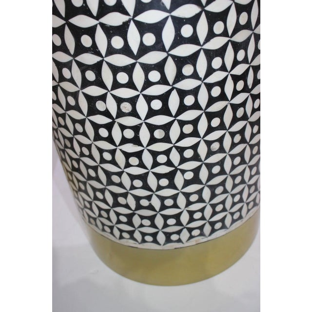 Black Vintage Drum Tables Tessellated Black and White Bone - a Set of 2 For Sale - Image 8 of 13