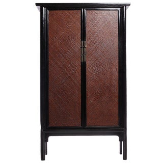 Antique Black Lacquered Woven Armoire with Rattan Panels from China, circa 1800s For Sale