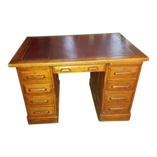 Antique English Leather Top Desk For Sale
