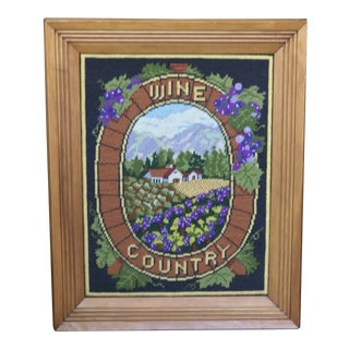 "Vintage Oak Framed ""Wine Country"" Needlepoint Wall Art For Sale"