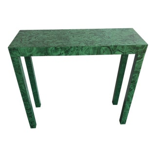 Art Deco Billet Collins Faux Finished Malachite Green Console Table For Sale
