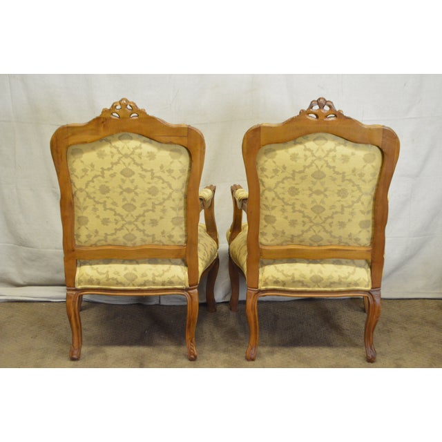 Quality Pair of Custom Upholstered Solid Walnut Louis XV Style Arm Chairs - Image 4 of 10