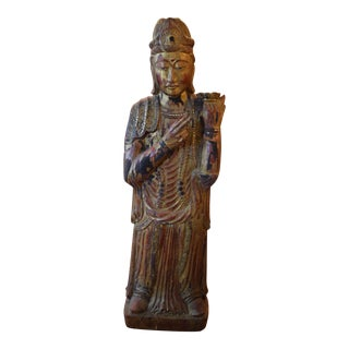 Asian Hand-Carved Wood Figure For Sale