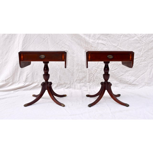Mahogany Pembroke Tables With Inlay Detail, Pair For Sale - Image 13 of 13