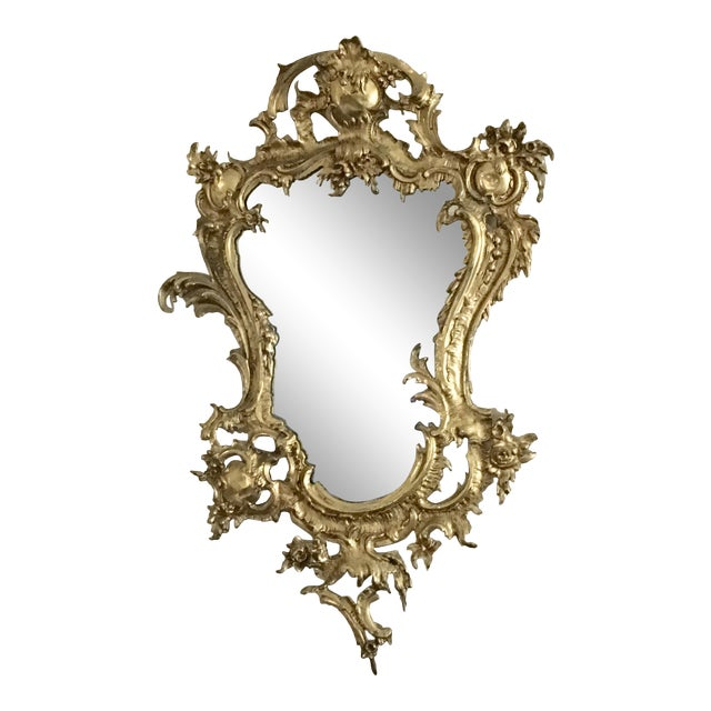 French Rococo Style Gilt Brass Ormolu, Vintage Brass Rococo Wall Mirror
