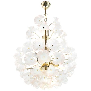 "Murano Glass and Brass ""Hibiscus"" Chandelier, Italy, 1950s For Sale"