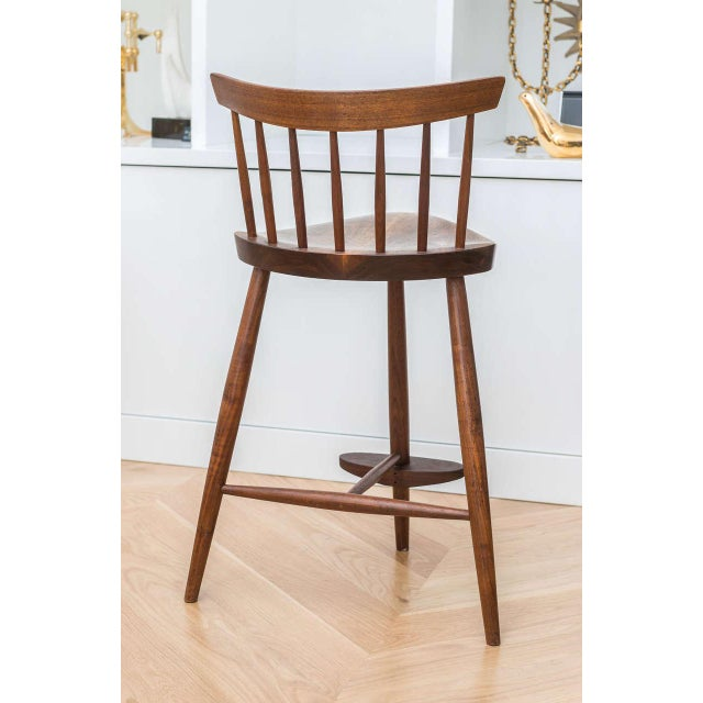 George Nakashima Walnut Mira Stool For Sale - Image 5 of 7