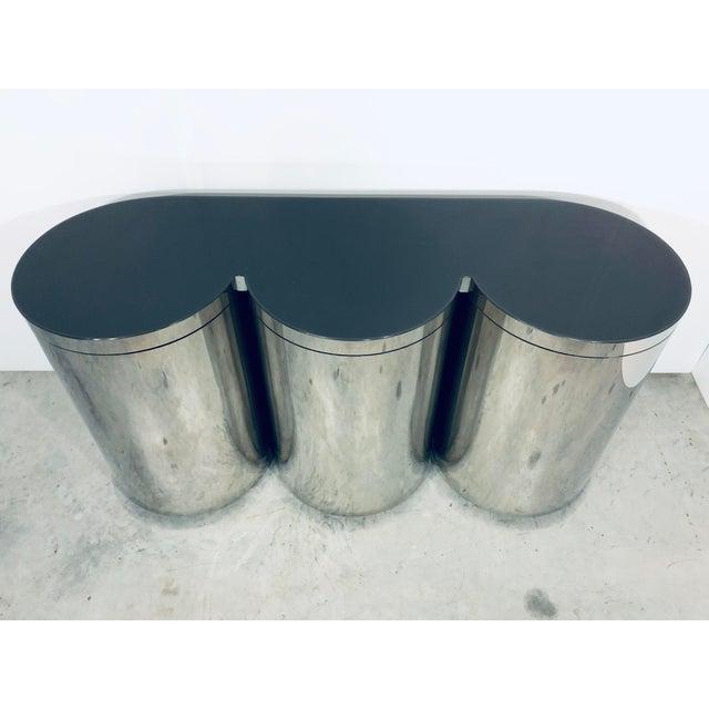 Paul Evans Paul Evans Mirror Polished Steel Cylinder Sideboard For Sale - Image 4 of 13