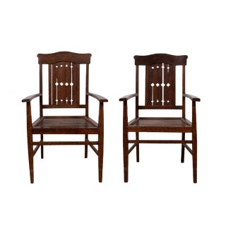 Vintage Dutch Colonial Armchairs With Pierced Wooden Slats and Bonnet-Style Rail - a Pair For Sale