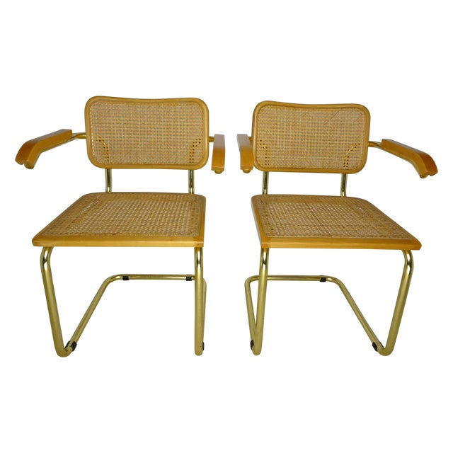 Marcel Breuer Cesca Brass Armchairs - a Pair For Sale