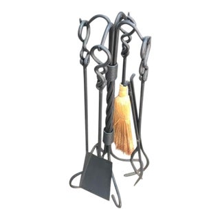 Black Twisted Iron Fireplace Tools Set - Set of 5 For Sale