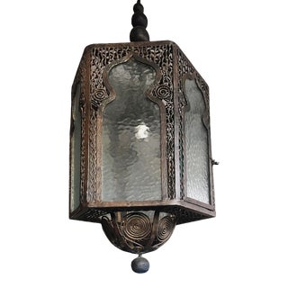 Early 20th Century Art Deco Islamic Style Wrought Iron Light For Sale