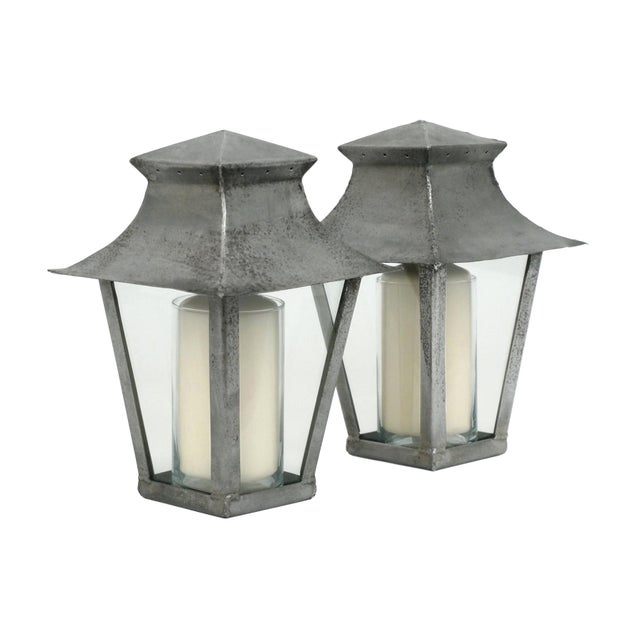 Petite 20th Century French Steel Candle Lanterns - a Pair For Sale In New York - Image 6 of 6