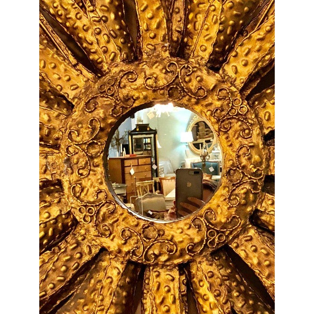 Large Detailed Brass Sunburst Brutalist Style Circular Mirror Solid Brass For Sale - Image 9 of 13
