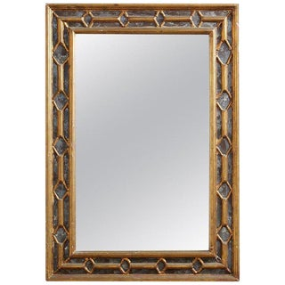 19th Century Italian Carved Giltwood Double Frame Mirror For Sale