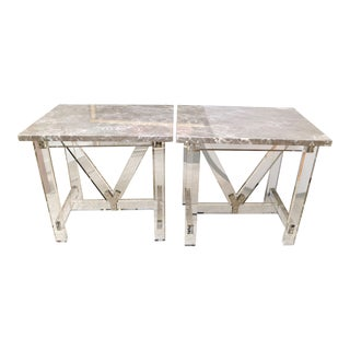 Gray Taupe Marble Top Lucite Base & Table, a Pair