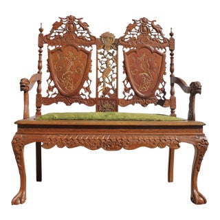 Chinoiserie Anglo Chinese Hand Carved Wood Settee For Sale