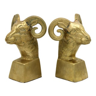 Hollywood Regency Brass Ram Head Bookends - a Pair For Sale